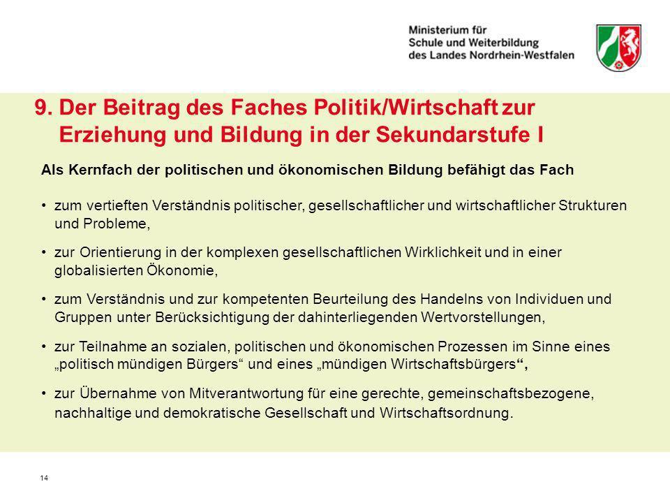 9. Der Beitrag des Faches Politik/Wirtschaft zur Erziehung und Bildung in der Sekundarstufe I