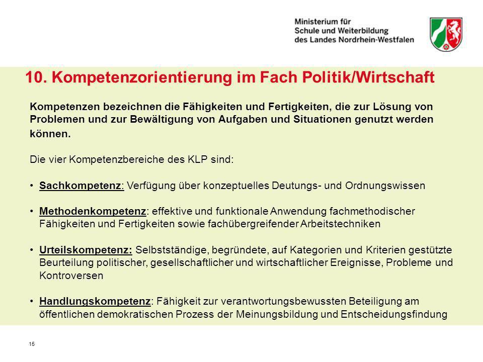 10. Kompetenzorientierung im Fach Politik/Wirtschaft
