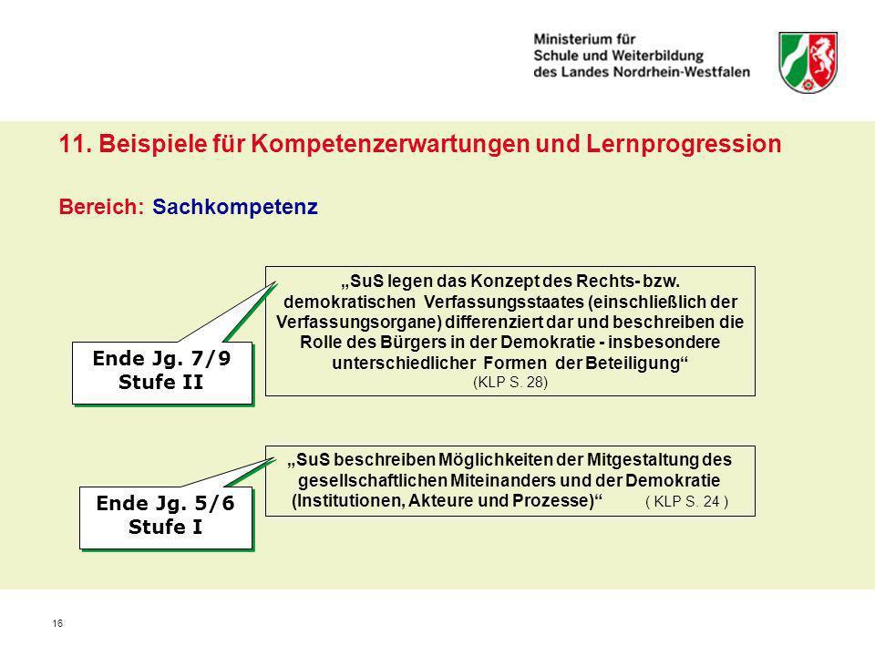11. Beispiele für Kompetenzerwartungen und Lernprogression Bereich: Sachkompetenz