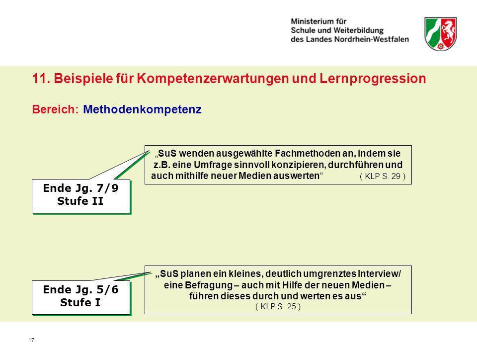 11. Beispiele für Kompetenzerwartungen und Lernprogression Bereich: Methodenkompetenz
