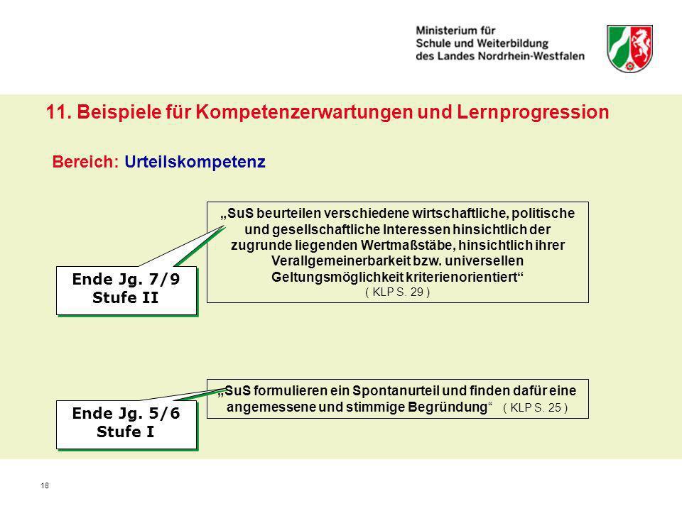 11. Beispiele für Kompetenzerwartungen und Lernprogression Bereich: Urteilskompetenz