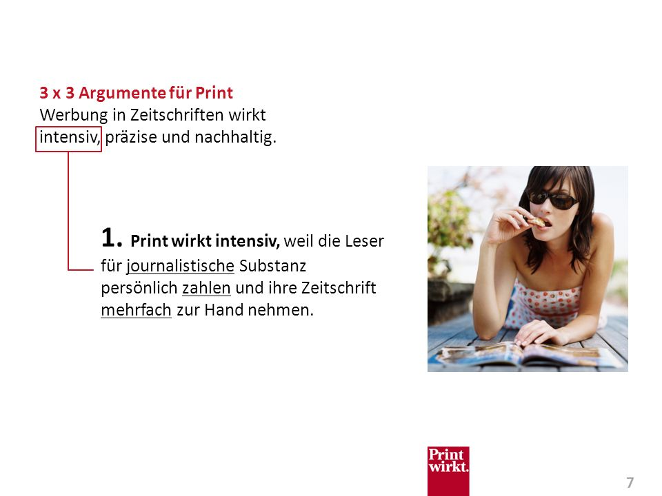 3 x 3 Argumente für Print Werbung in Zeitschriften wirkt intensiv, präzise und nachhaltig.