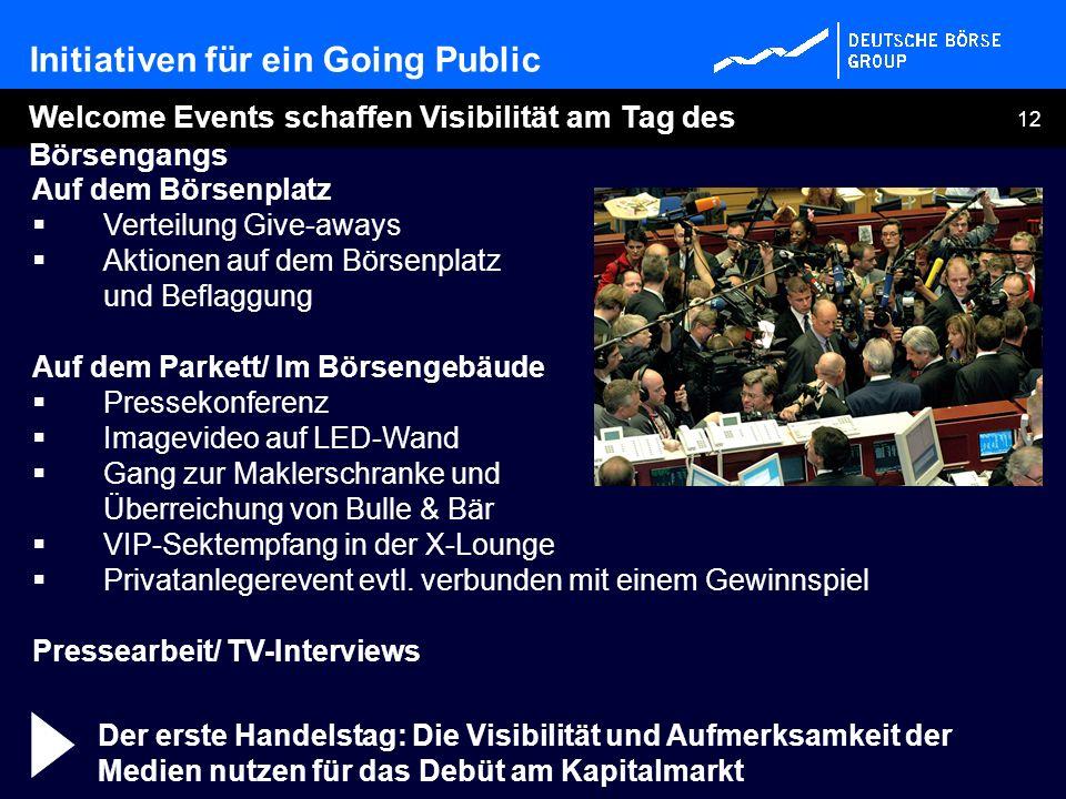Initiativen für ein Going Public
