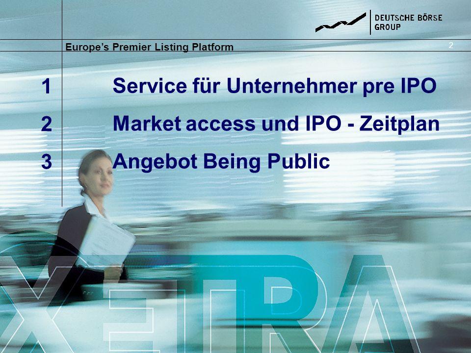 Service für Unternehmer pre IPO Market access und IPO - Zeitplan