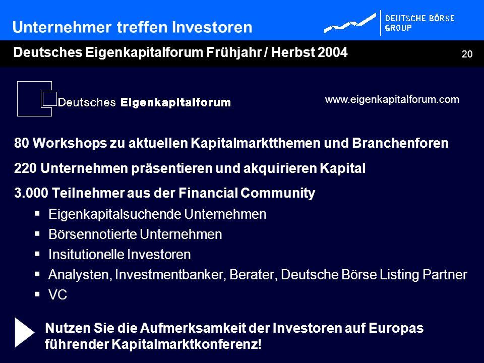 Deutsches Eigenkapitalforum Frühjahr / Herbst 2004