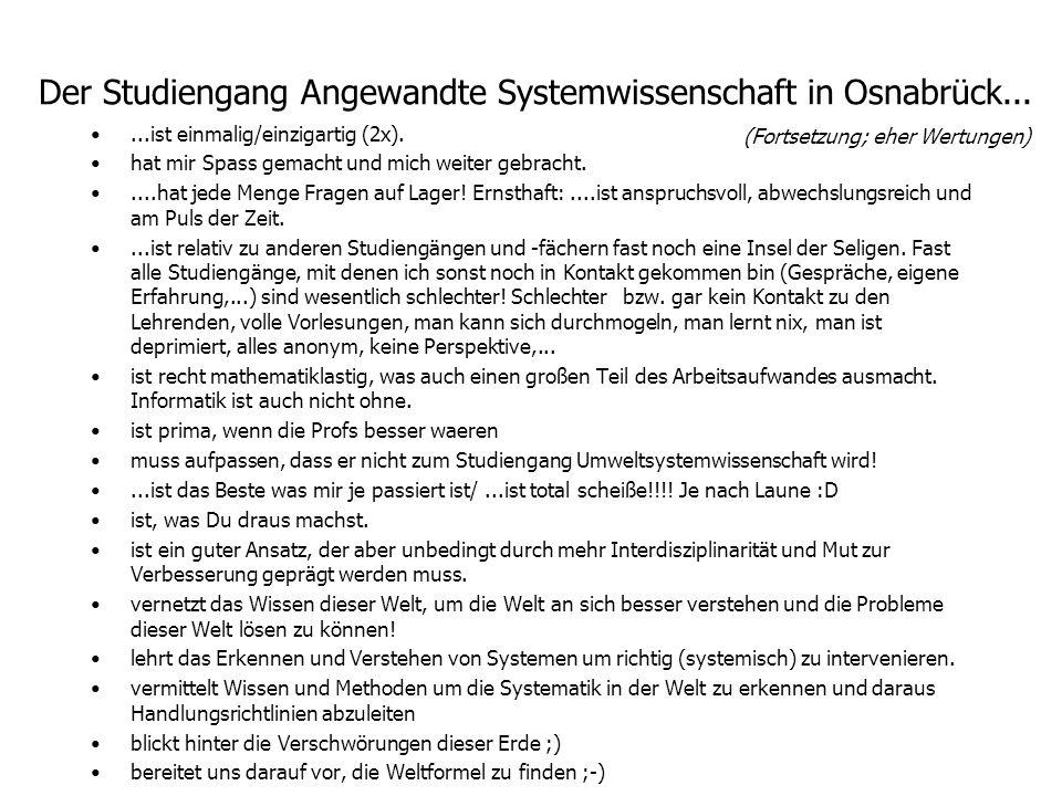 Der Studiengang Angewandte Systemwissenschaft in Osnabrück