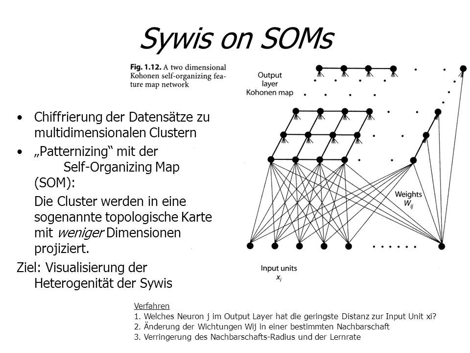 "Sywis on SOMs Chiffrierung der Datensätze zu multidimensionalen Clustern. ""Patternizing mit der Self-Organizing Map (SOM):"