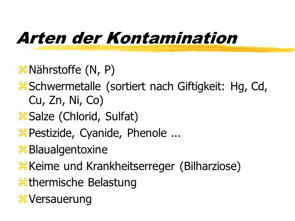 Arten der Kontamination