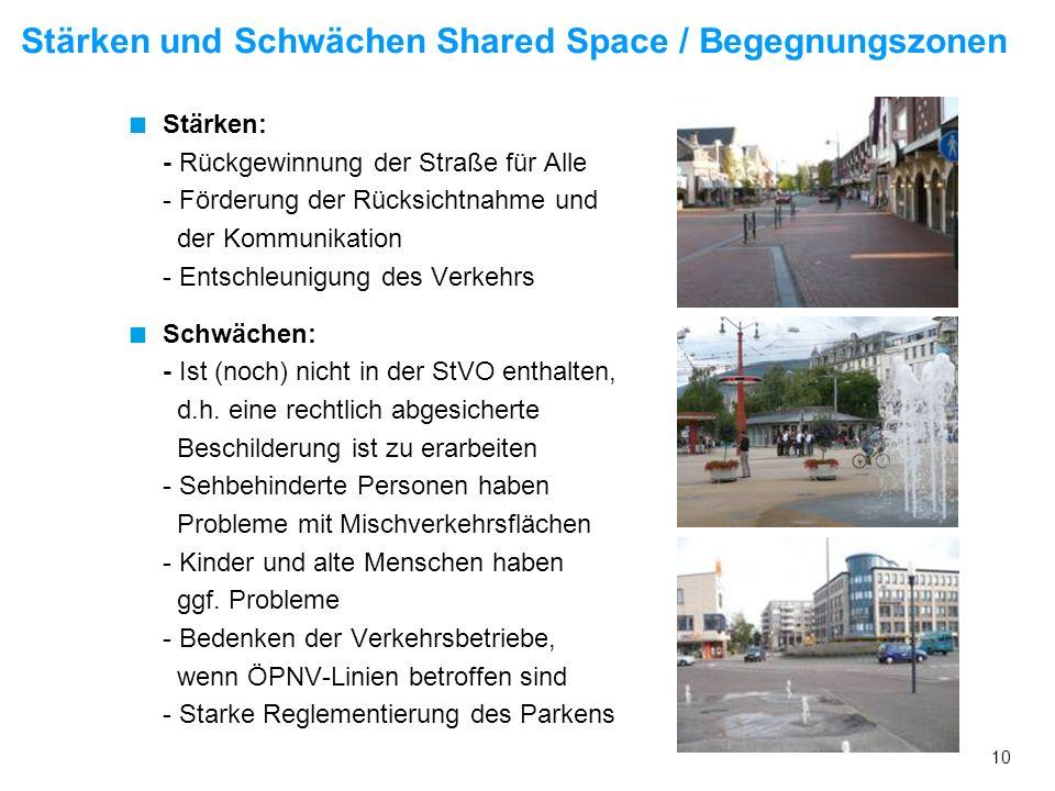 Stärken und Schwächen Shared Space / Begegnungszonen