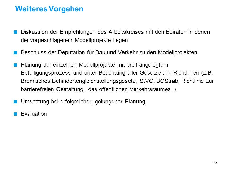 Weiteres VorgehenDiskussion der Empfehlungen des Arbeitskreises mit den Beiräten in denen die vorgeschlagenen Modellprojekte liegen.
