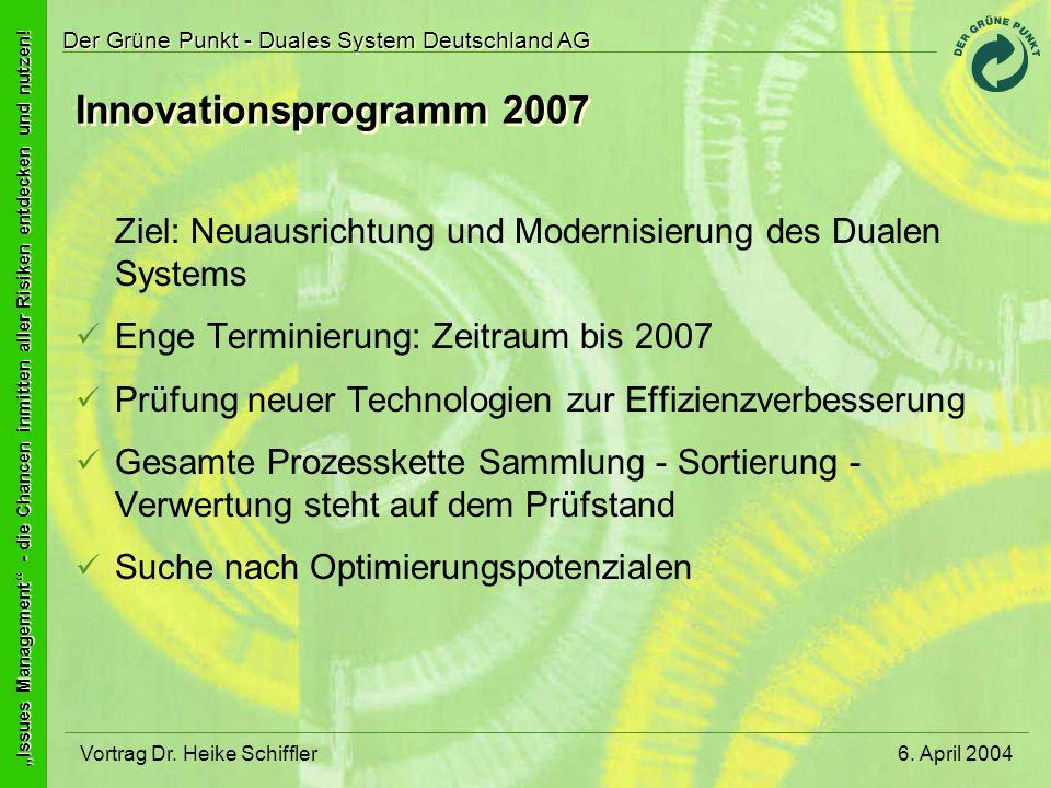 Innovationsprogramm 2007 Ziel: Neuausrichtung und Modernisierung des Dualen Systems. Enge Terminierung: Zeitraum bis 2007.