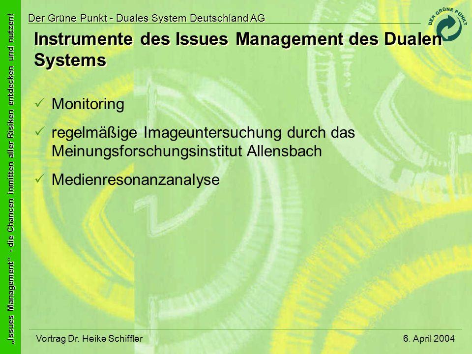 Instrumente des Issues Management des Dualen Systems