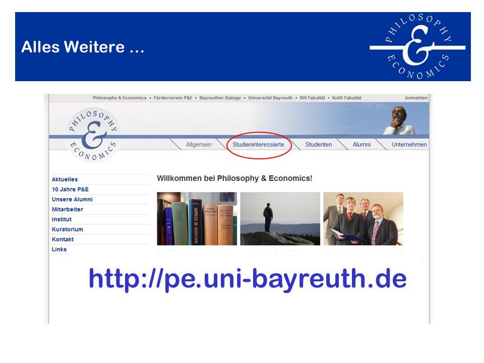 Alles Weitere … http://pe.uni-bayreuth.de