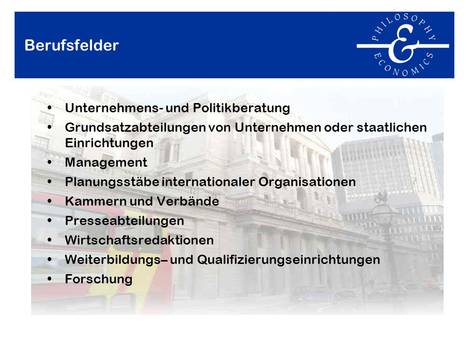 Berufsfelder Unternehmens- und Politikberatung