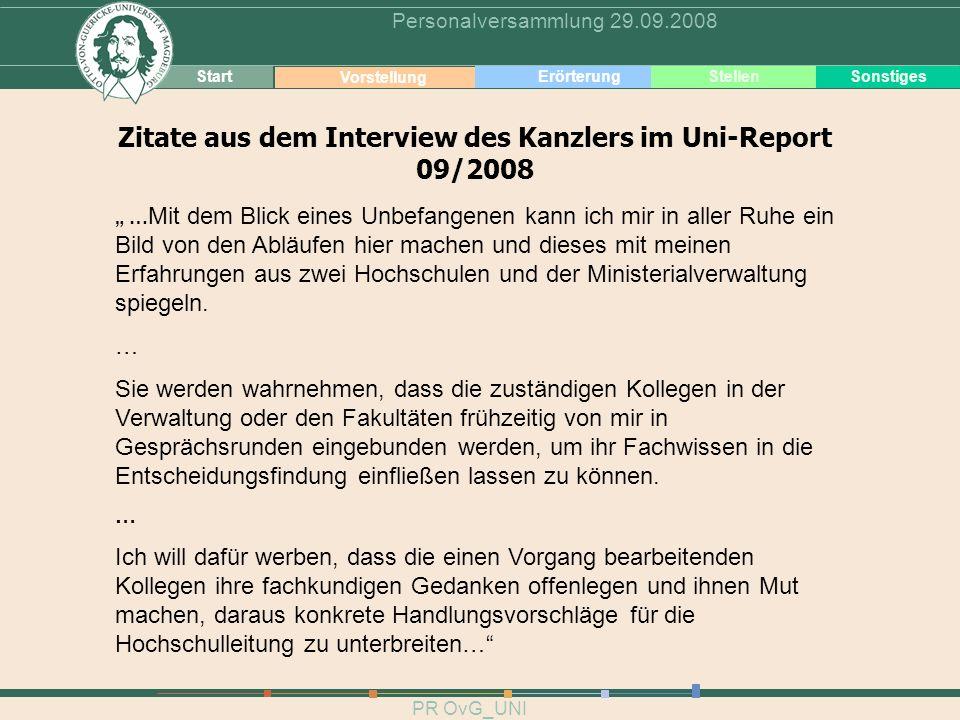 Zitate aus dem Interview des Kanzlers im Uni-Report 09/2008