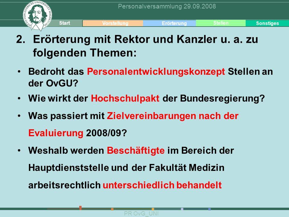 Erörterung Erörterung mit Rektor und Kanzler u. a. zu
