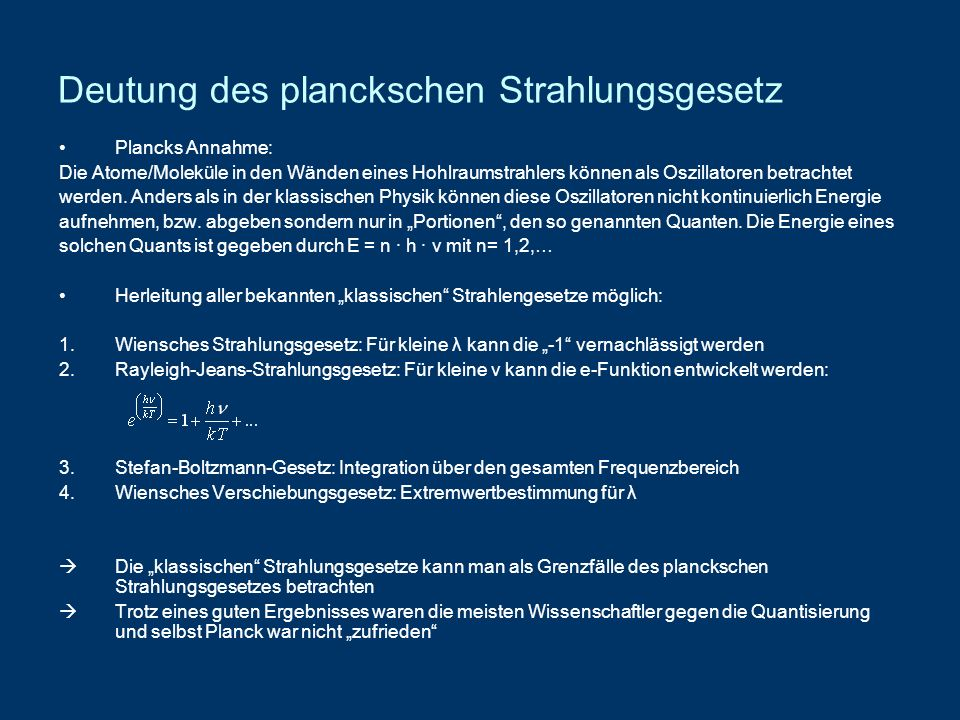 Deutung des planckschen Strahlungsgesetz