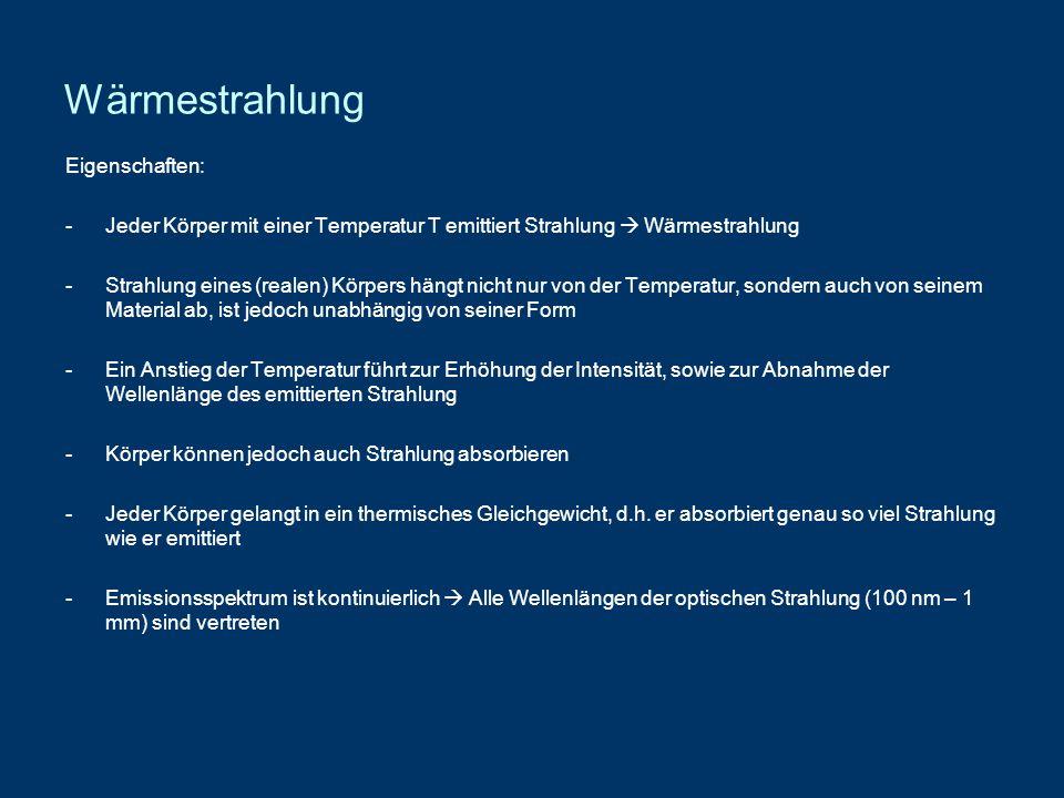 Wärmestrahlung Eigenschaften: