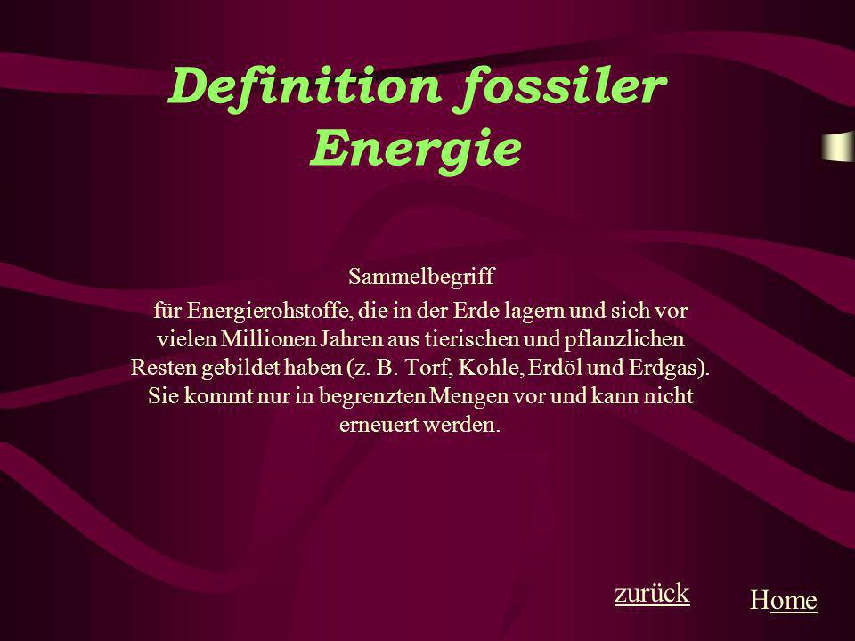 Definition fossiler Energie