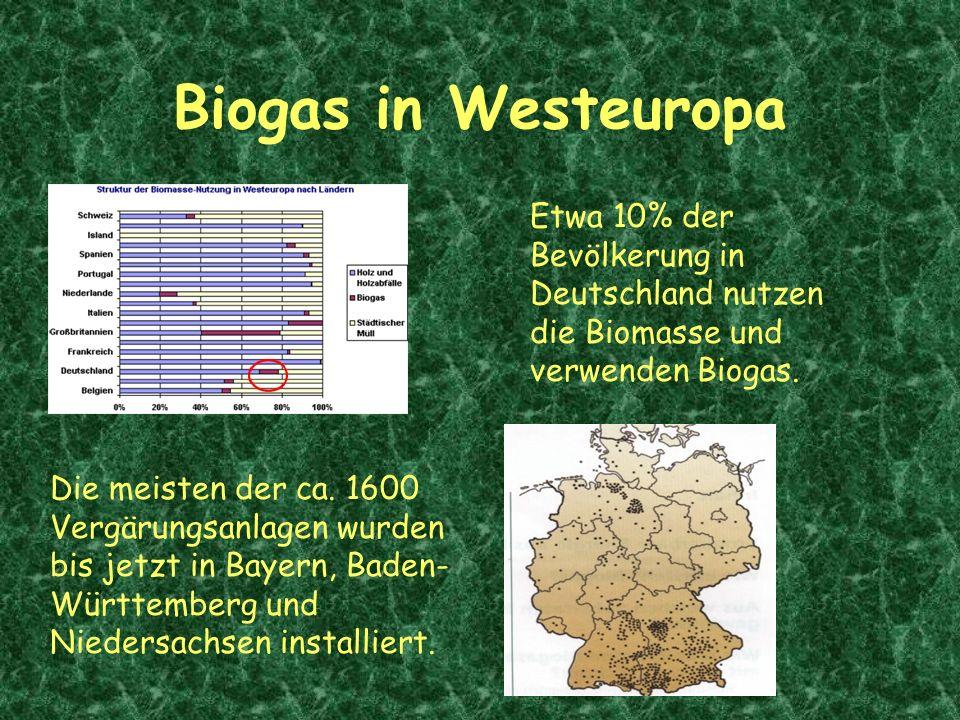 Biogas in Westeuropa Etwa 10% der Bevölkerung in Deutschland nutzen die Biomasse und verwenden Biogas.