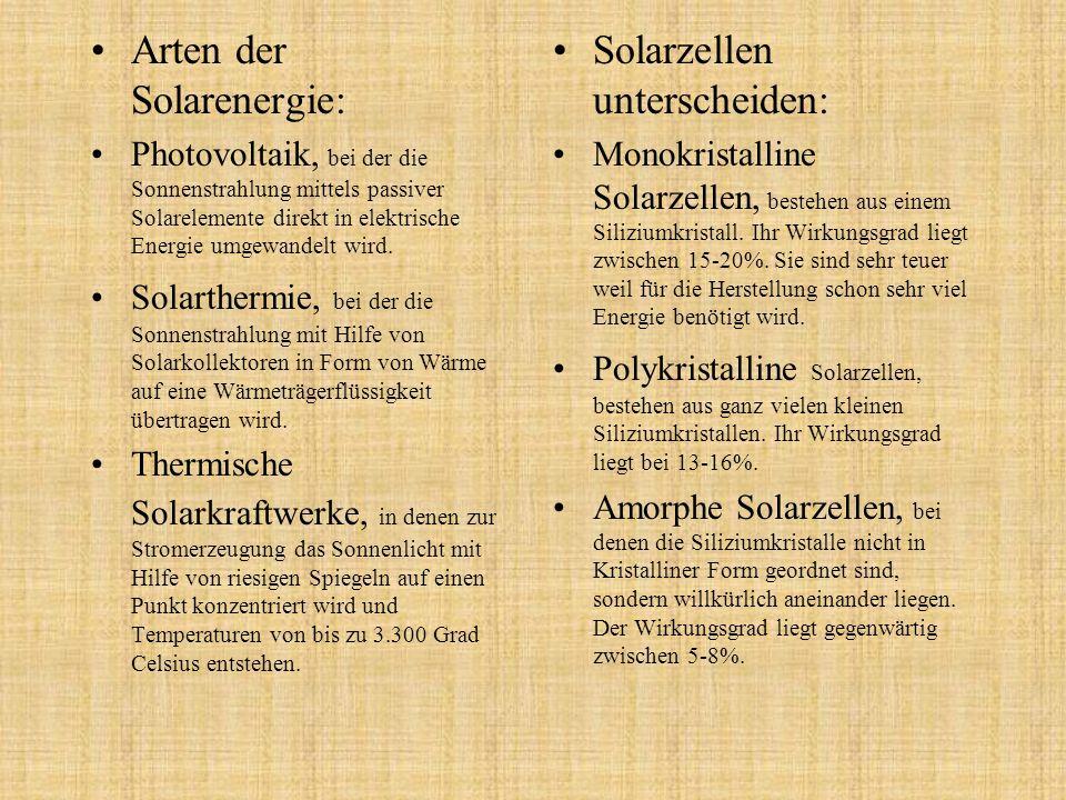Arten der Solarenergie: Solarzellen unterscheiden: