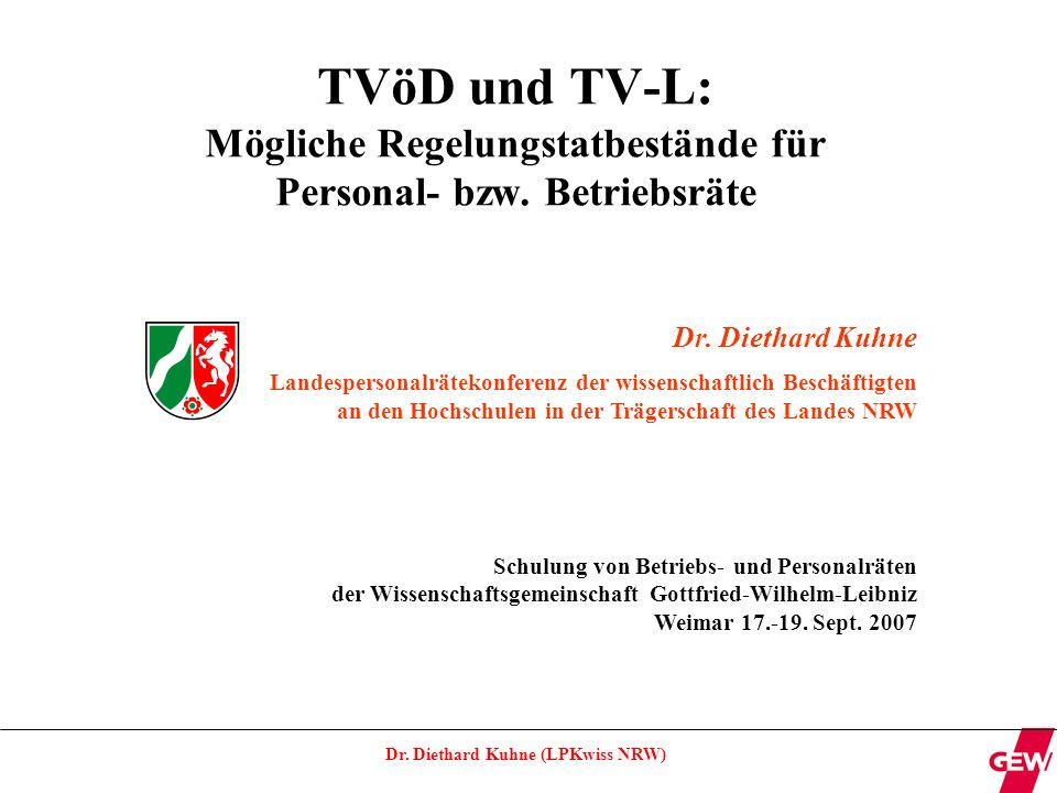 TVöD und TV-L: Mögliche Regelungstatbestände für Personal- bzw