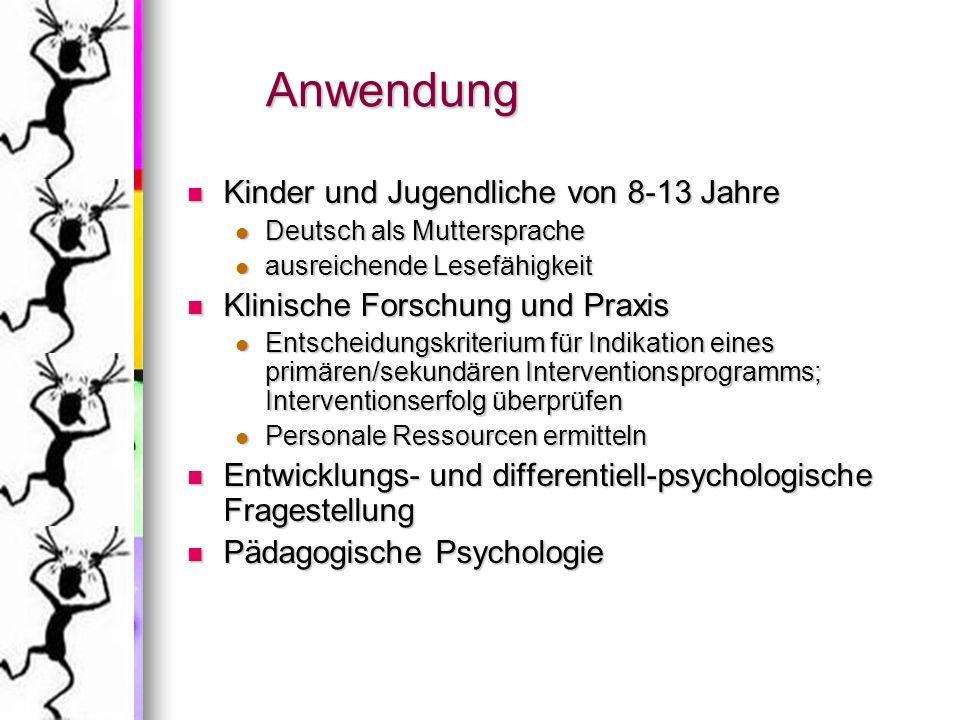 Anwendung Kinder und Jugendliche von 8-13 Jahre