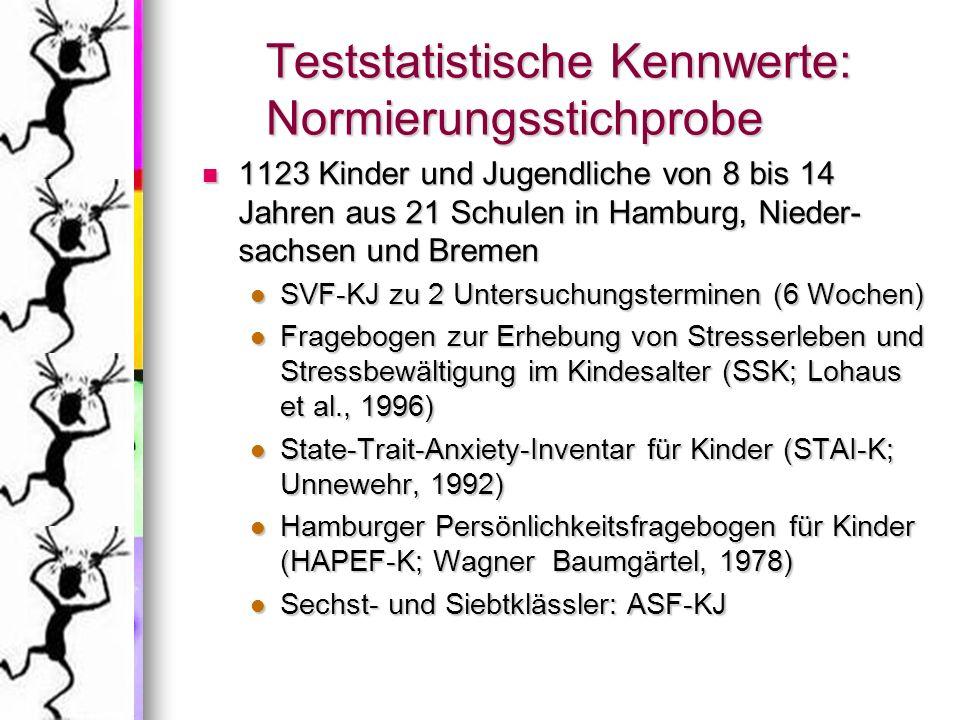 Teststatistische Kennwerte: Normierungsstichprobe