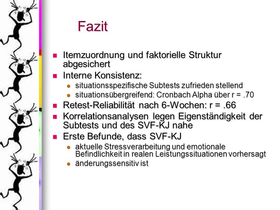 Fazit Itemzuordnung und faktorielle Struktur abgesichert