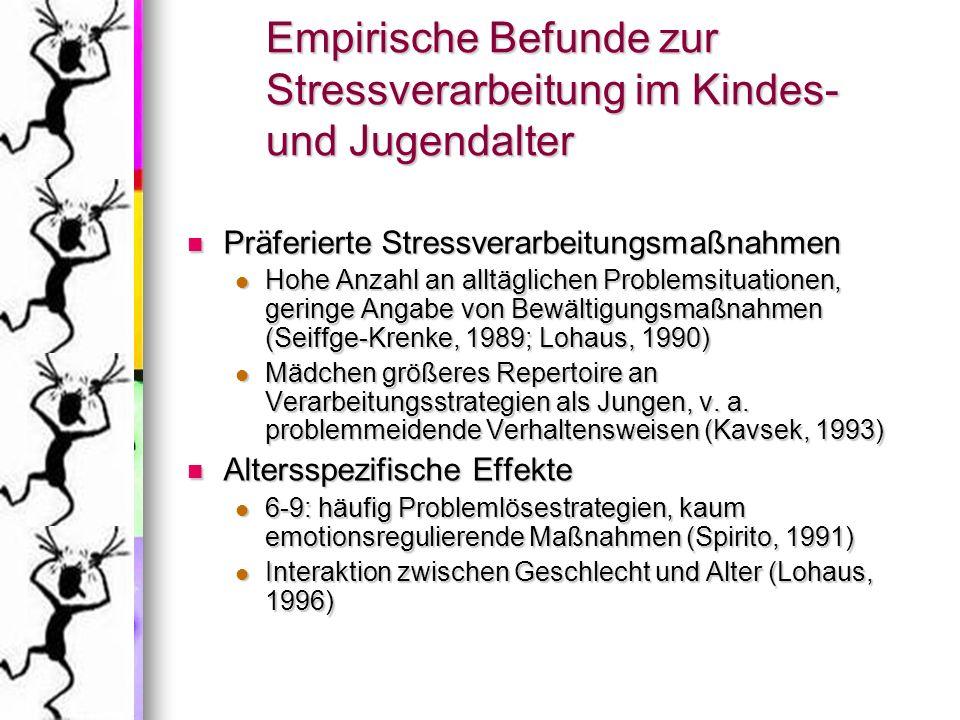 Empirische Befunde zur Stressverarbeitung im Kindes- und Jugendalter
