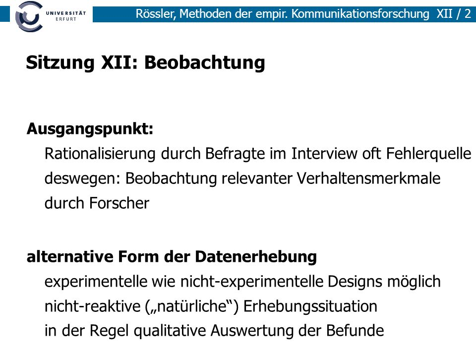 Sitzung XII: Beobachtung