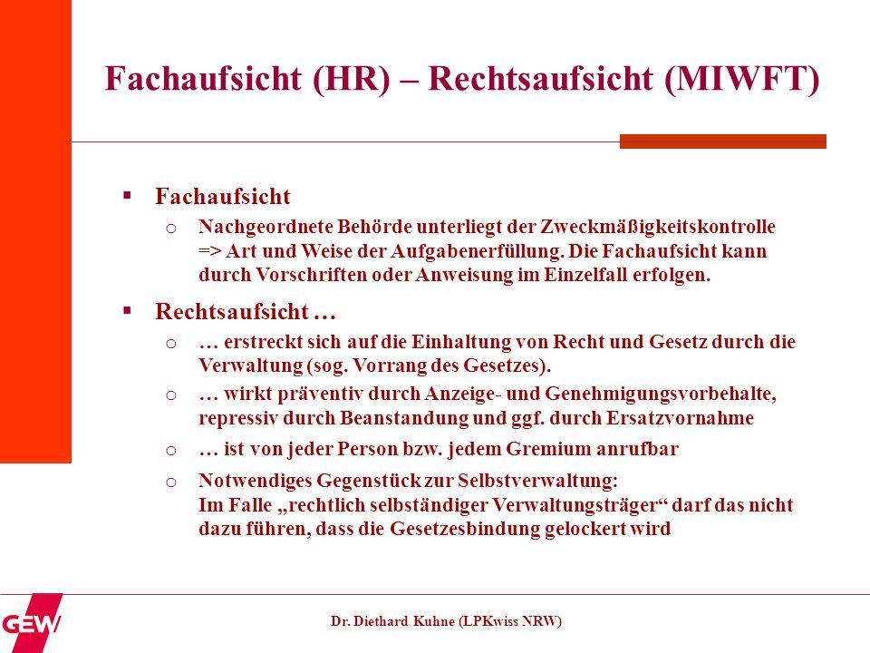 Fachaufsicht (HR) – Rechtsaufsicht (MIWFT)