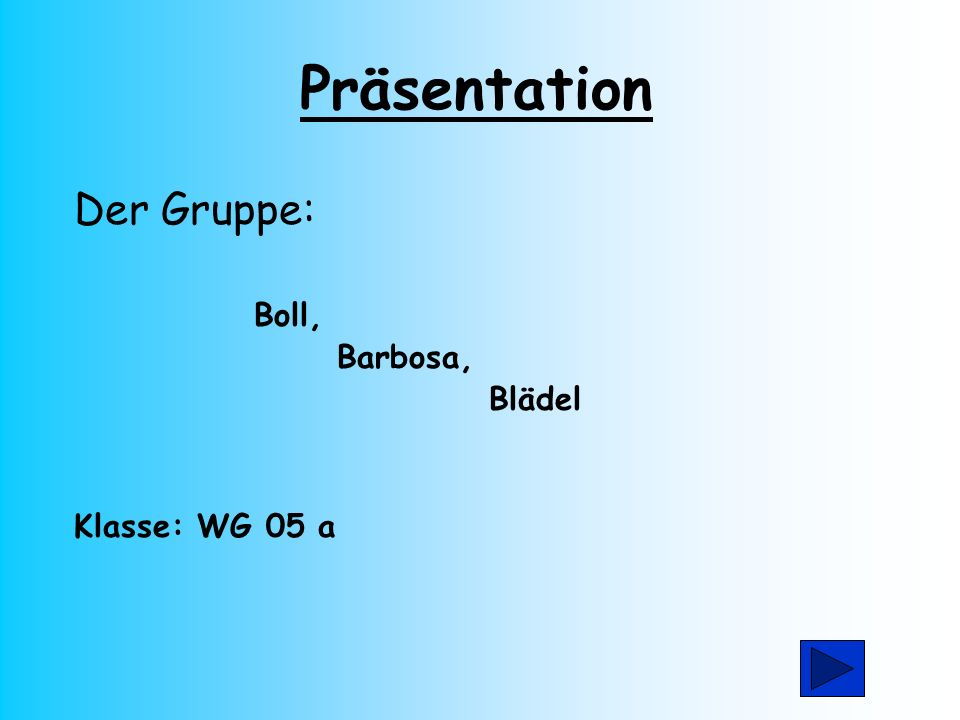 Präsentation Der Gruppe: Boll, Barbosa, Blädel Klasse: WG 05 a