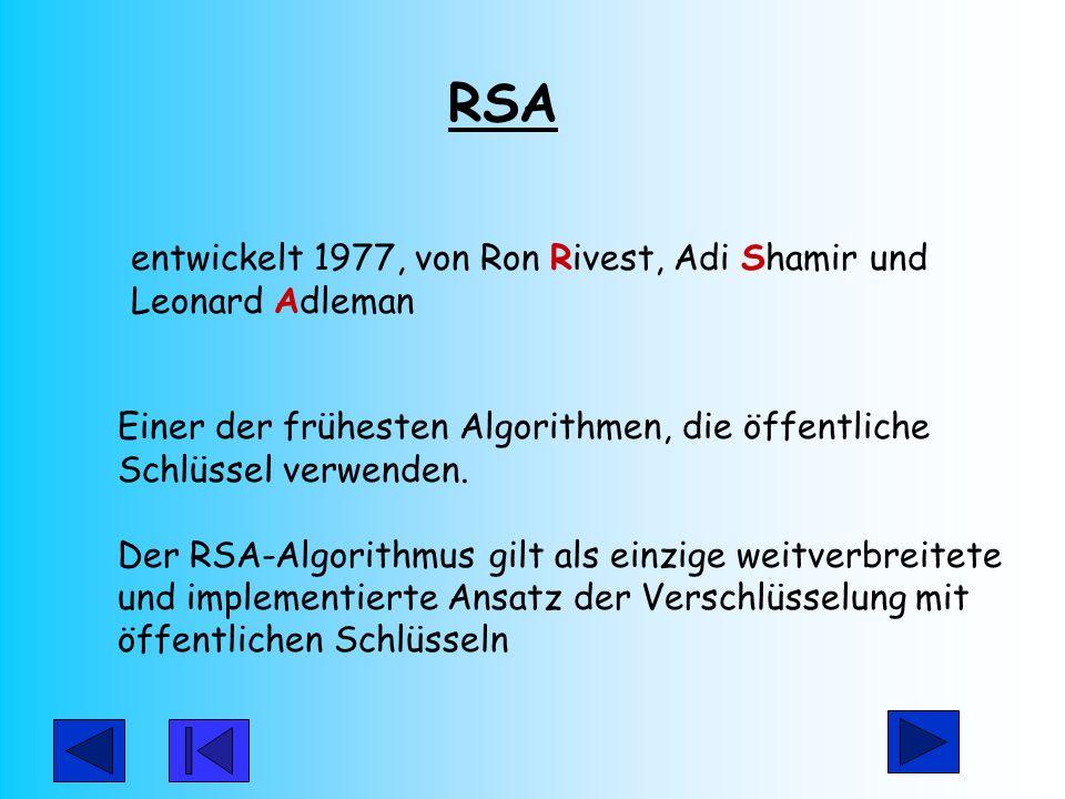 RSA entwickelt 1977, von Ron Rivest, Adi Shamir und Leonard Adleman. Einer der frühesten Algorithmen, die öffentliche Schlüssel verwenden.
