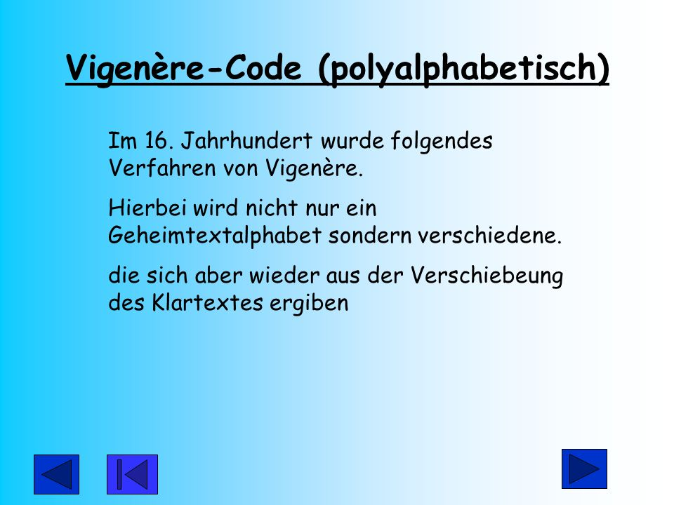 Vigenère-Code (polyalphabetisch)