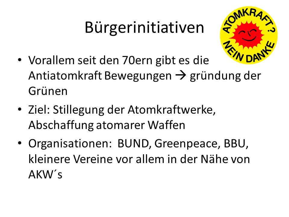 Bürgerinitiativen Vorallem seit den 70ern gibt es die Antiatomkraft Bewegungen  gründung der Grünen.