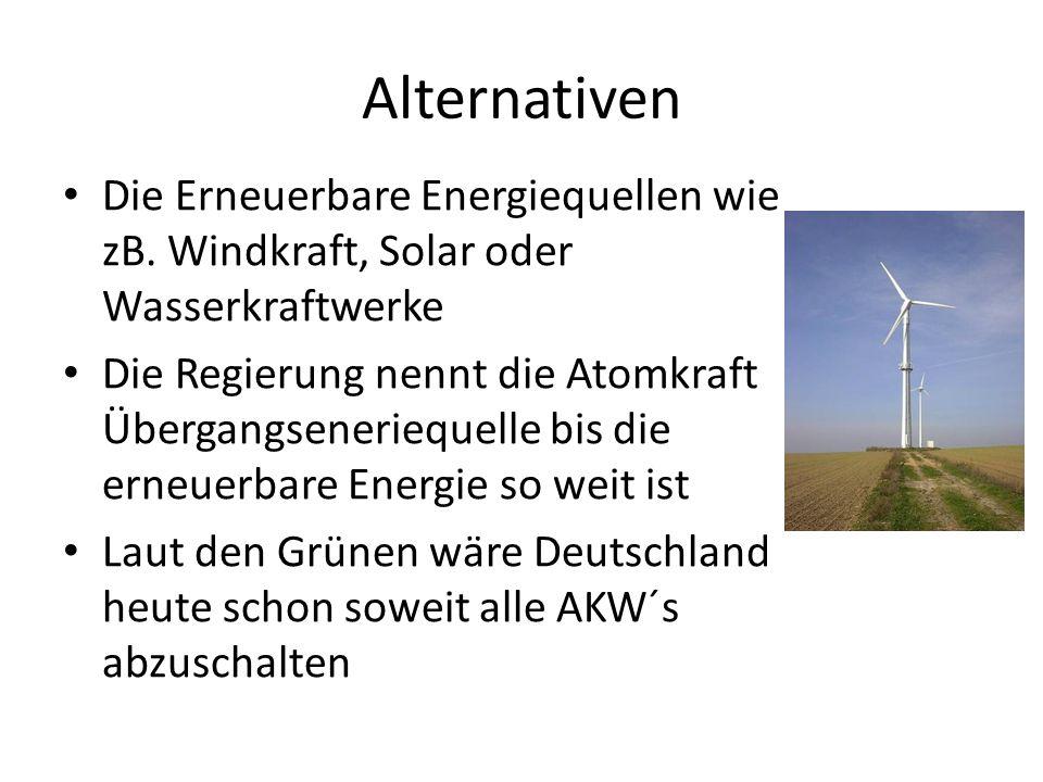 Alternativen Die Erneuerbare Energiequellen wie zB. Windkraft, Solar oder Wasserkraftwerke.