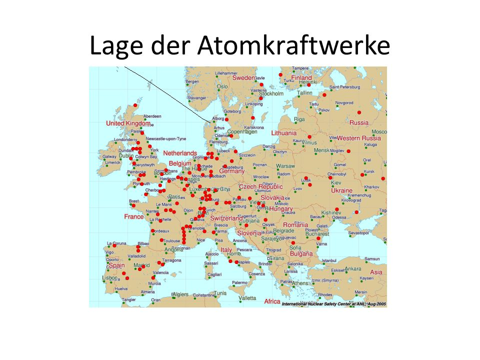 Lage der Atomkraftwerke