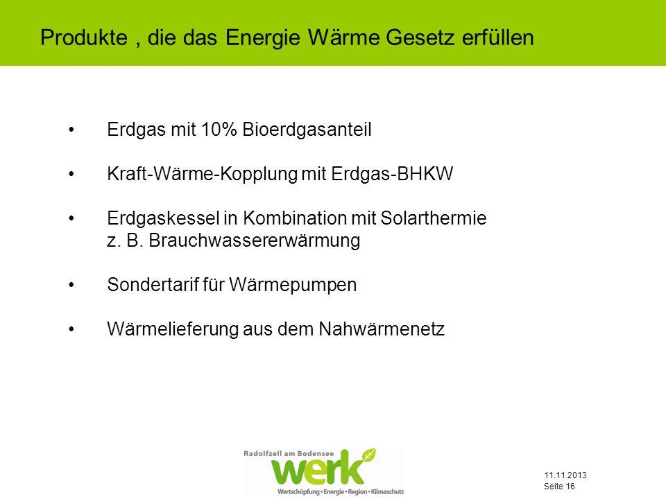 Produkte , die das Energie Wärme Gesetz erfüllen