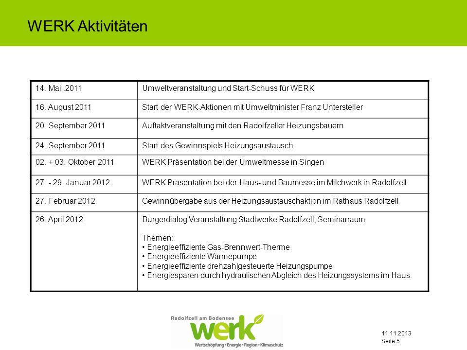 WERK Aktivitäten 14. Mai .2011. Umweltveranstaltung und Start-Schuss für WERK. 16. August 2011.