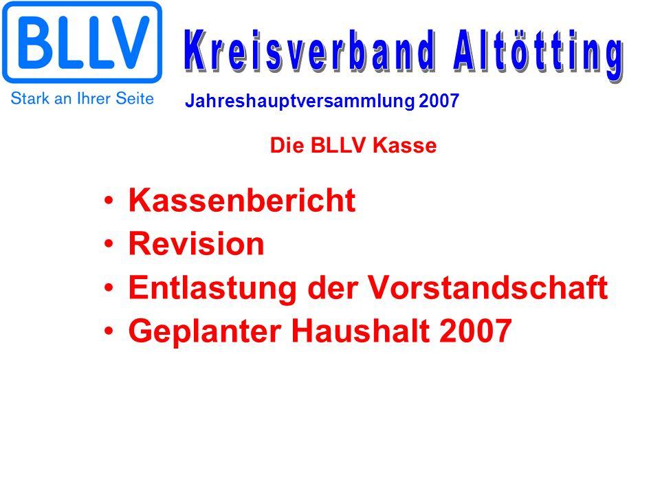 Entlastung der Vorstandschaft Geplanter Haushalt 2007