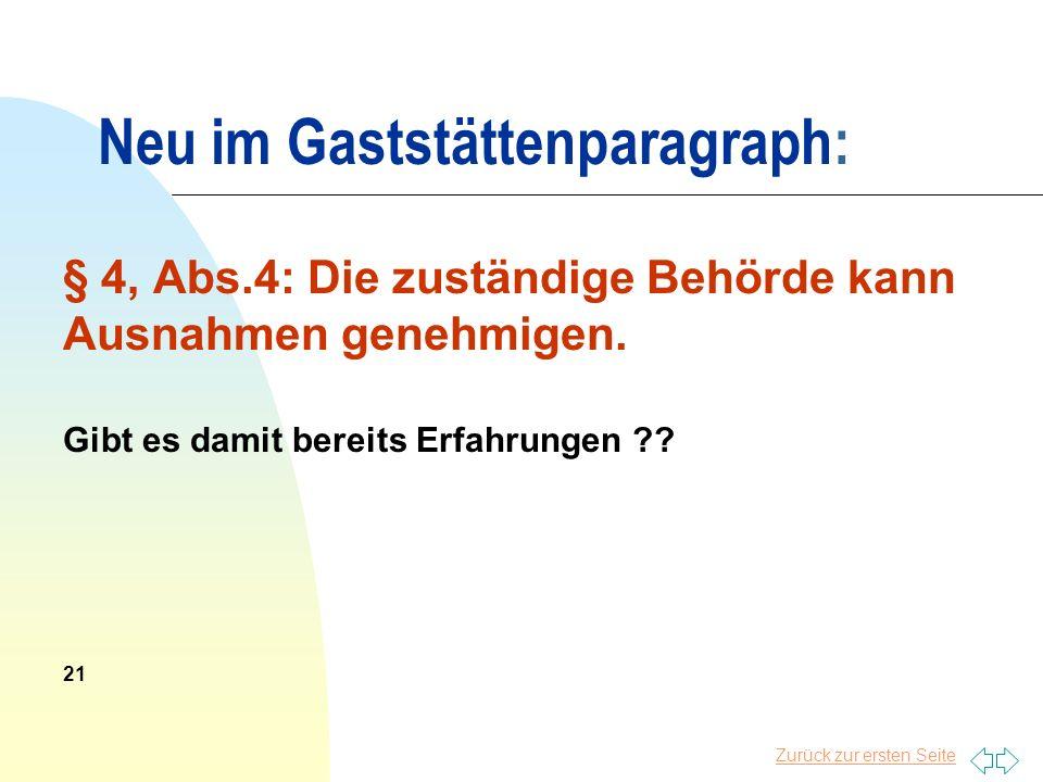 Neu im Gaststättenparagraph: