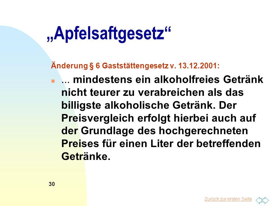 """25.03.2017 """"Apfelsaftgesetz Änderung § 6 Gaststättengesetz v. 13.12.2001:"""