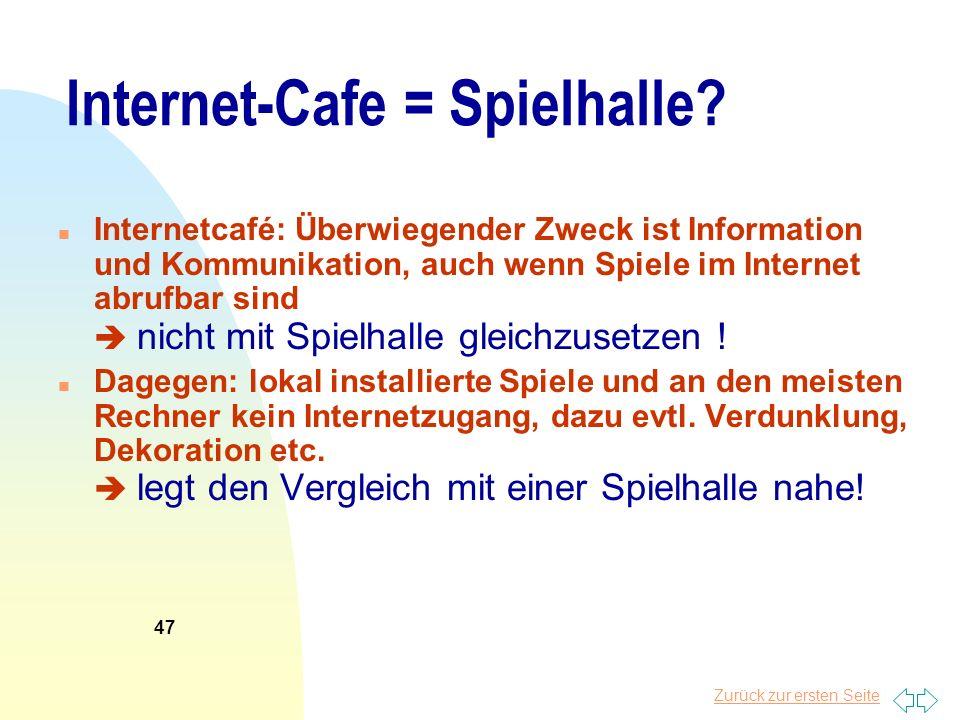 Internet-Cafe = Spielhalle