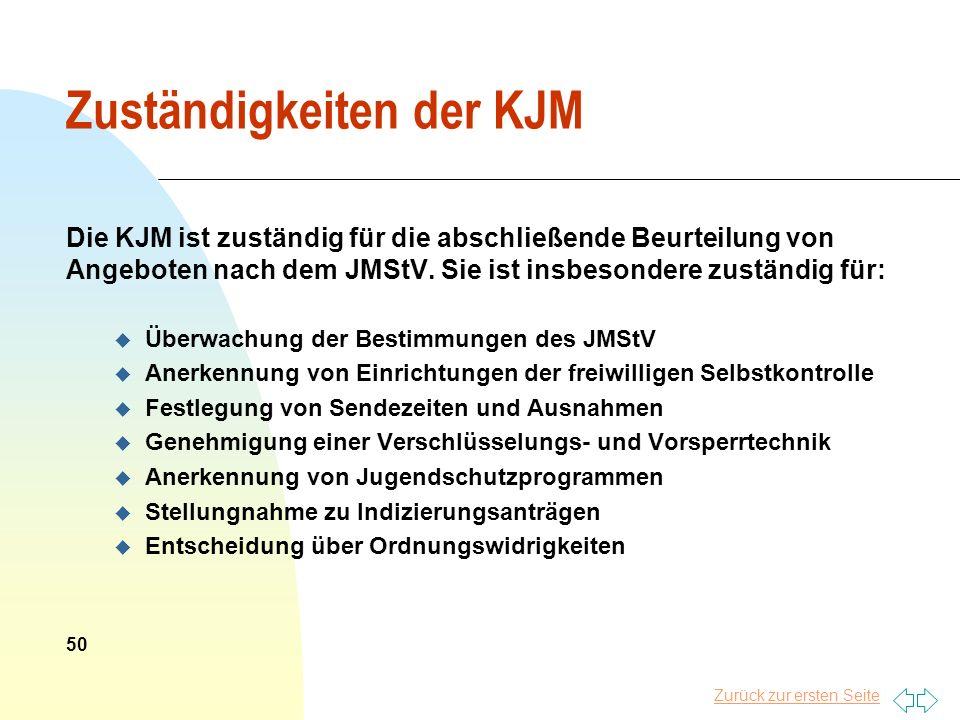 Zuständigkeiten der KJM