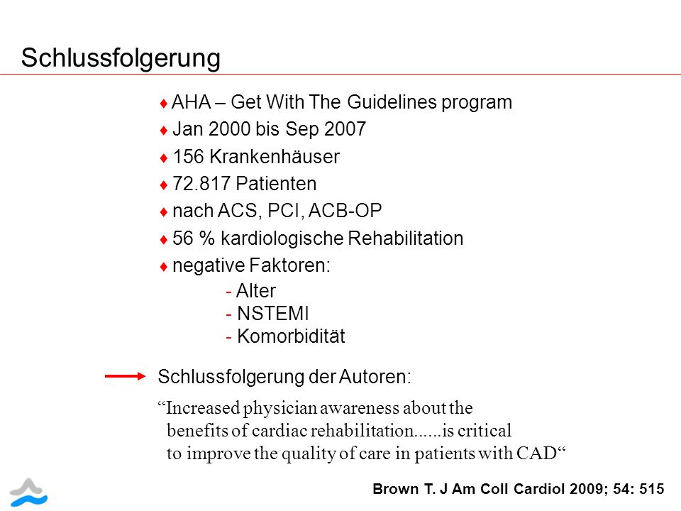 Schlussfolgerung AHA – Get With The Guidelines program