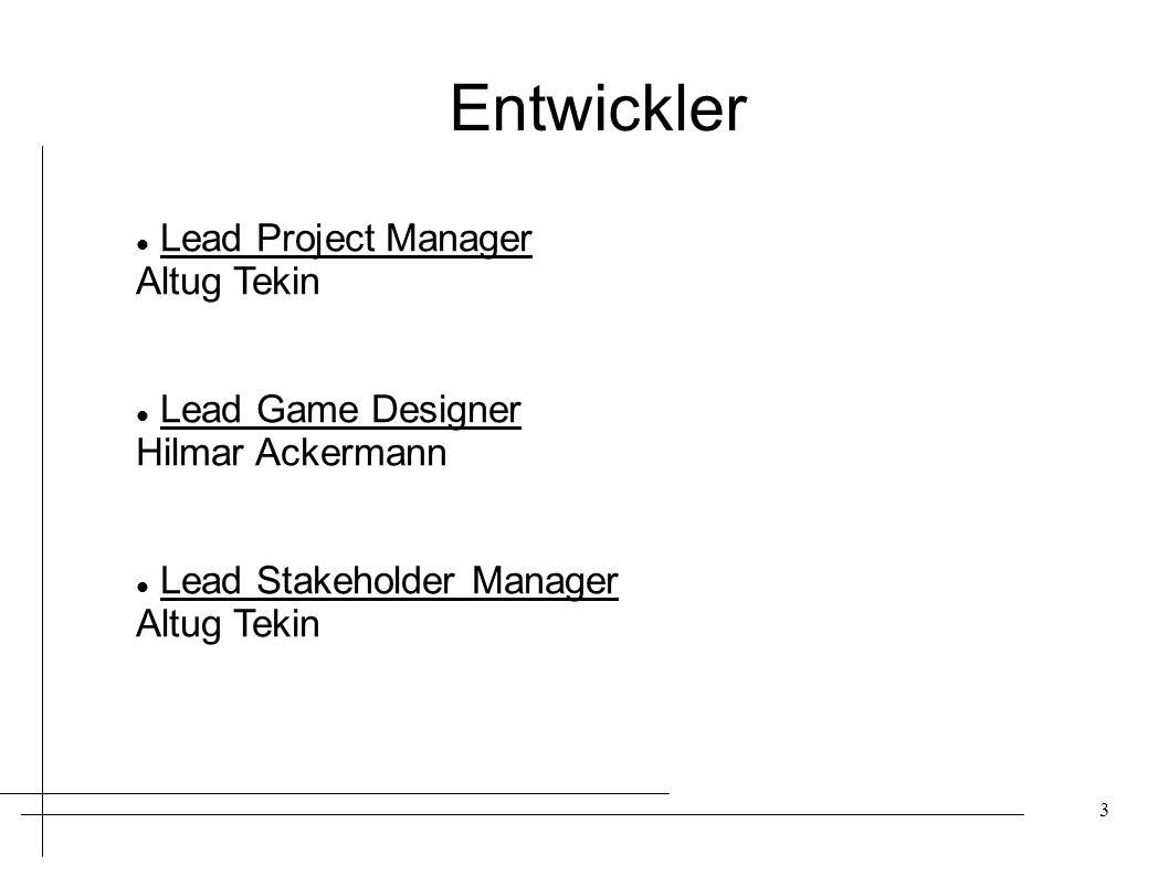 Entwickler Lead Project Manager Altug Tekin Lead Game Designer