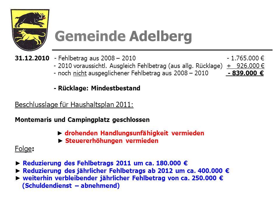 Beschlusslage für Haushaltsplan 2011: