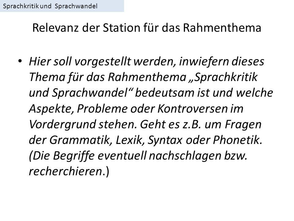 Relevanz der Station für das Rahmenthema