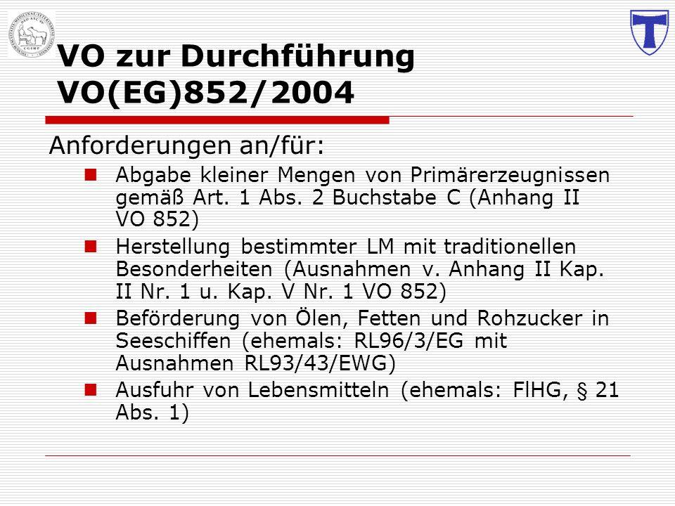 VO zur Durchführung VO(EG)852/2004